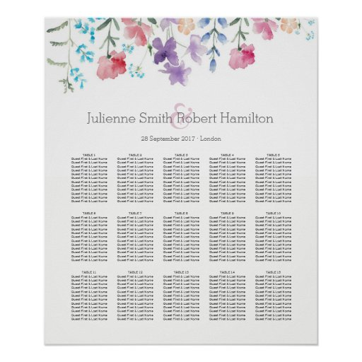 Floral Watercolor Wedding Seating Chart 15 Tables