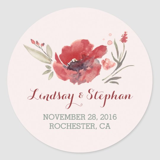floral watercolor wedding stickers