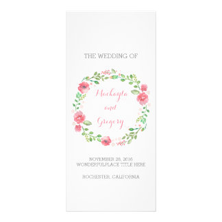 Floral Watercolor Wreath Elegant Wedding Programs Customized Rack Card
