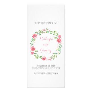 Floral Watercolor Wreath Elegant Wedding Programs Rack Card