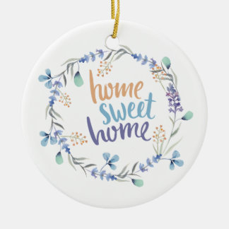 Floral Watercolor Wreath Home Sweet Home Christmas Ornament