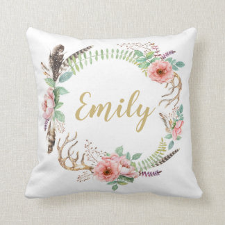 Floral Watercolor Wreath Personalised Cushion