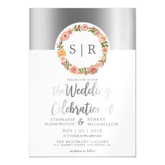 Floral Watercolor Wreath Silver Script Wedding Magnetic Invitations