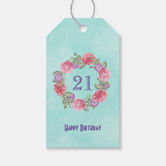 Floral Watercolor Wreath w/ Happy Birthday and Age
