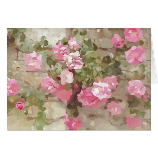 Floral Watercolour Effect Pink Climbing Roses Card