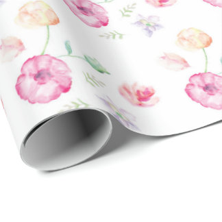 Floral Watercolour Flowers Wrapping Paper