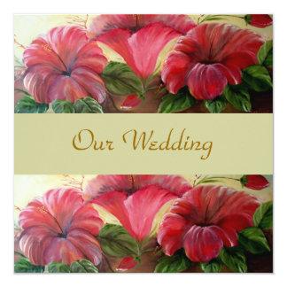 FLORAL WEDDING 13 CM X 13 CM SQUARE INVITATION CARD