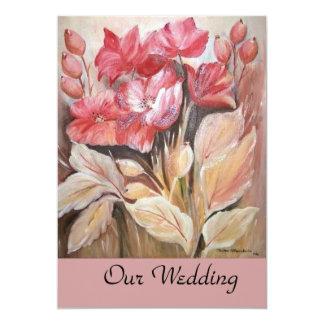 floral wedding 13 cm x 18 cm invitation card
