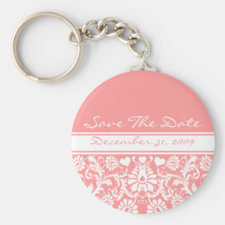 Floral Wedding Change to Any Color Basic Round Button Key Ring