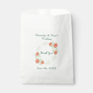 Floral Wedding Favor Bags - Wreath Design