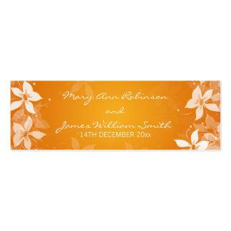 Floral Wedding Favor Tag Exotic Blooms Orange Business Card Template