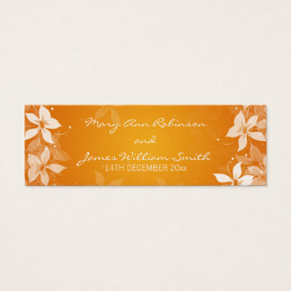 Floral Wedding Favor Tag Exotic Blooms Orange Mini Business Card