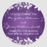 Floral Wedding Favour Tag Exotic Blooms Purple Round Sticker