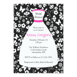 "Floral Wedding Gown Pink Bridal Shower Invitations 5"" X 7"" Invitation Card"