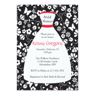 "Floral Wedding Gown Red Bridal Shower Invitations 5"" X 7"" Invitation Card"