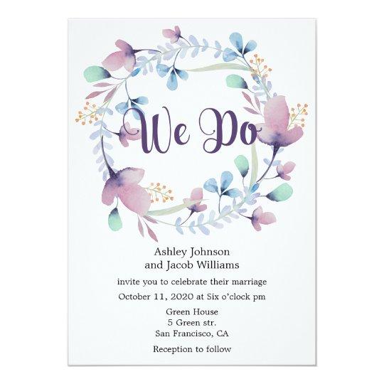 Floral wedding invitation. Blue and purple invite