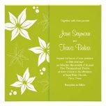 Floral Wedding Invitation - Green & White