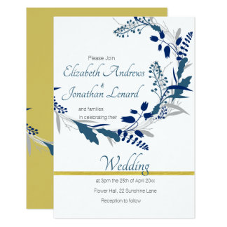 Floral Wedding invitation in Gold and  Blue