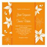 Floral Wedding Invitation - Orange & White