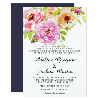 Floral Wedding Invitation | Pink and Navy