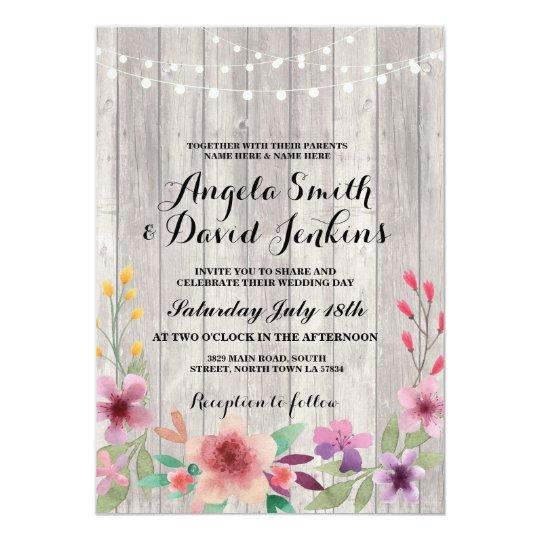 Floral Wedding Invitations Wood Rustic Lights