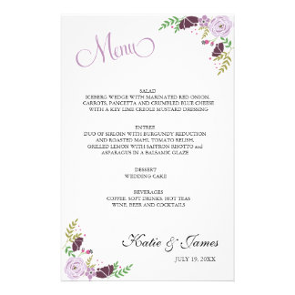 Floral Wedding Menu | Purple