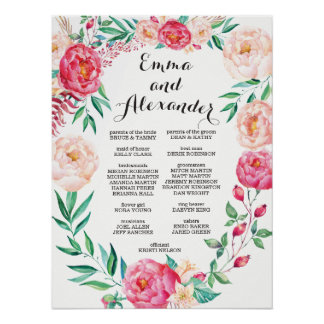 Floral Wedding Party Sign / Welcome Sign Poster