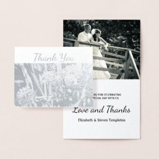 Floral Wedding Photo Thank You Foil Card