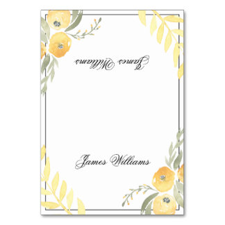 Floral Wedding Place Cards Yellow Table Cards