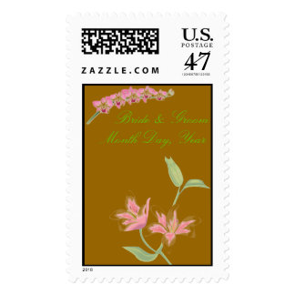 Floral Wedding Postage-Brown with Pink Flowers Stamps