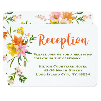 Floral Wedding Reception Orange Green Lily Flowers Card