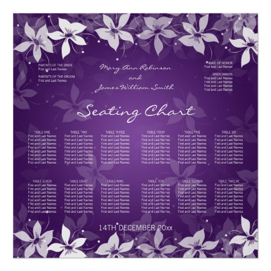 Floral Wedding Seating Chart Exotic Blooms Purple