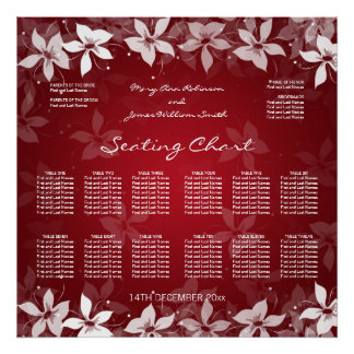 Floral Wedding Seating Chart Exotic Blooms Red