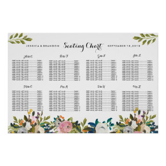 Floral Wedding Seating Chart Name Alphabetical