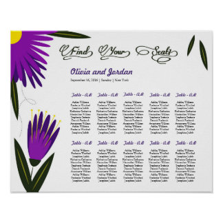 Floral Wedding Seating Chart Poster
