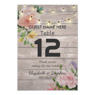 Floral Wedding Seating Place Table Number / Escort Card