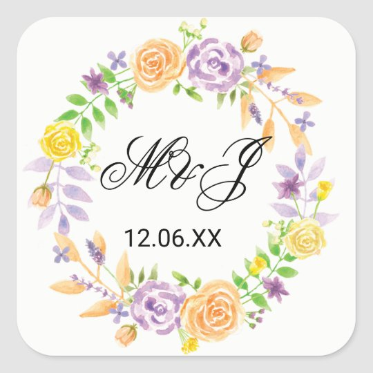 Floral Wedding Stickers Purple Coral Flower Labels