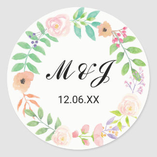 Floral Wedding Stickers Watercolour Flower Labels
