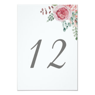 Floral Wedding Table Numbers Card