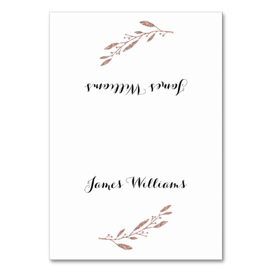 Floral Wedding Table Place Cards Rose Gold Foil