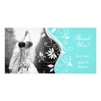 Floral Wedding Thank You Card Custom Blue White