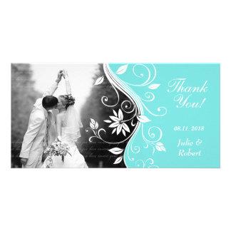 Floral Wedding Thank You Card Custom Blue White Customised Photo Card