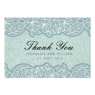 Floral Wedding Thank You Card in Blue