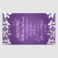 Floral Wedding Wine Label Exotic Blooms Purple