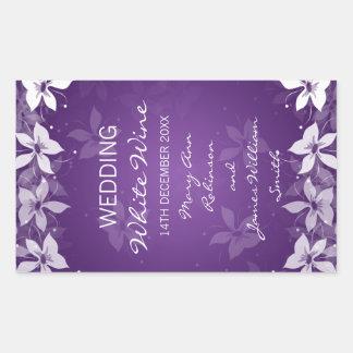 Floral Wedding Wine Label Exotic Blooms Purple Rectangular Sticker
