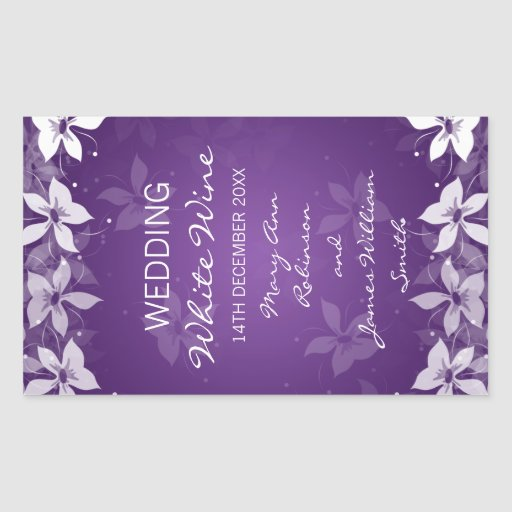 Floral Wedding Wine Label Exotic Blooms Purple Rectangle Sticker