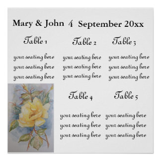 "Floral Wedding "" Yellow rose"" seating chart. Print"