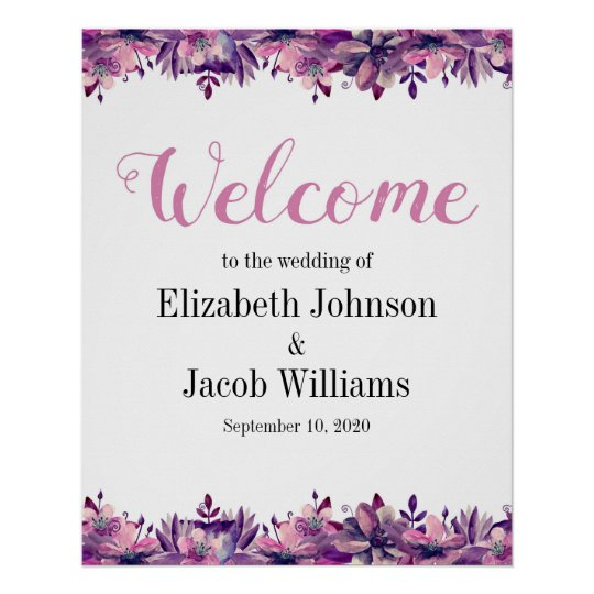 Floral welcome sign Wedding print Purple and pink