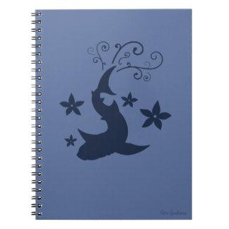 Floral Whale Shark Vector Art Spiral Notebook