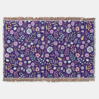 Floral Whimsical Boho Pattern Throw Blanket